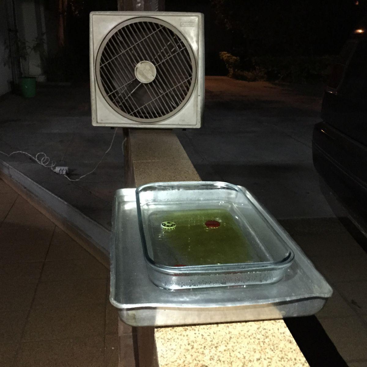 Ventilador para espalhar o vapor de álcool