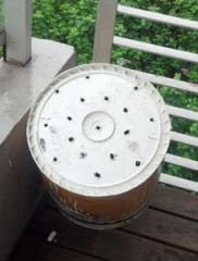 DIY space bucket drill holes In bottom
