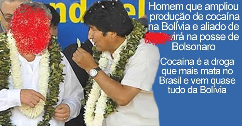 Evo Morales, líder dos cocaleiros da Bolívia, país que lidera tráfico de cocaína para o Brasil, virá na posse de Bolsonaro.jpg
