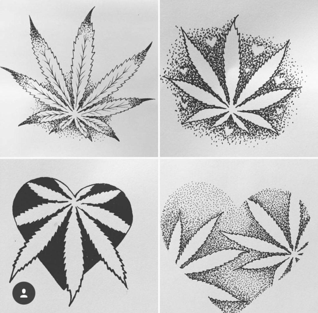 tatuagens de folha de maconha