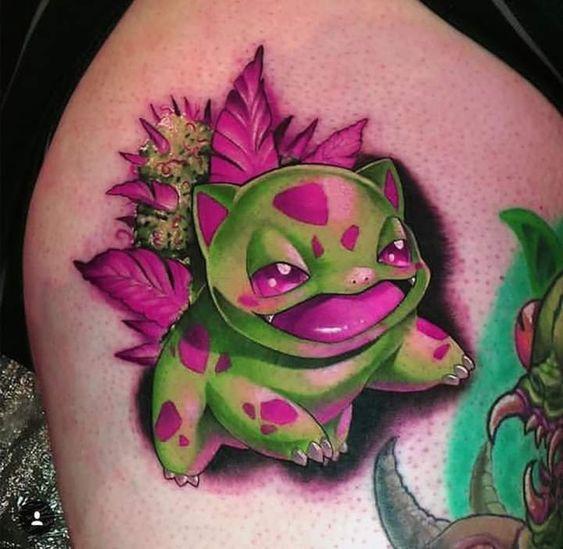 tatuagem de maconha com bulbasaur