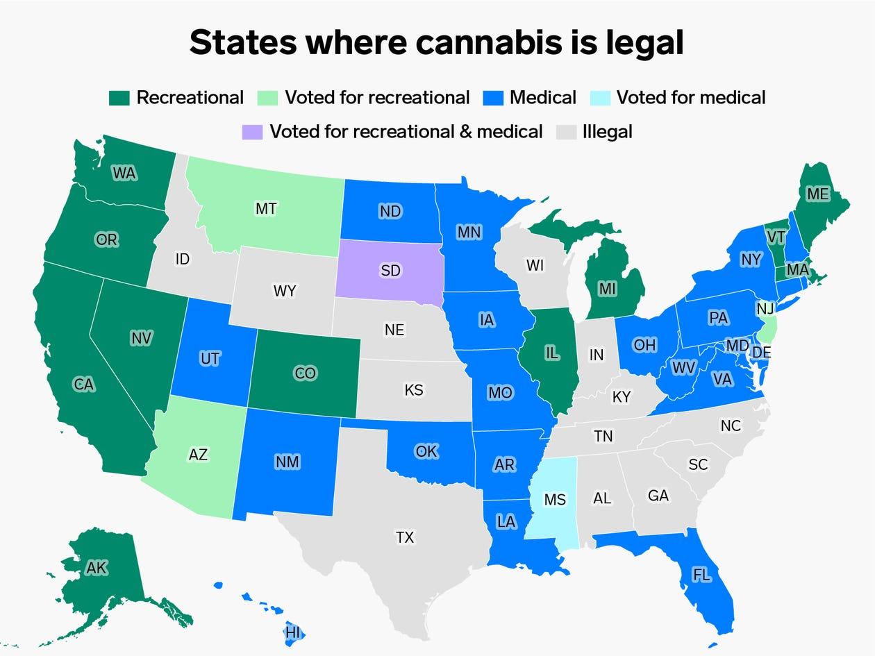 mapa dos estados americanos que legalizaram a maconha - Business Insier